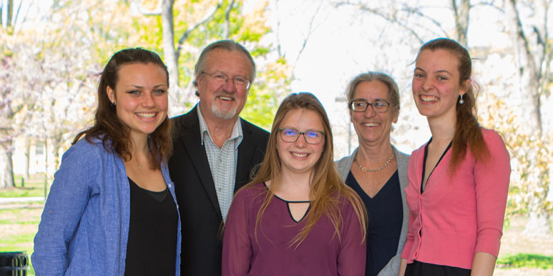 Tom and Maureen Callinan with the Miami University 2015 Charitable Words Scholars