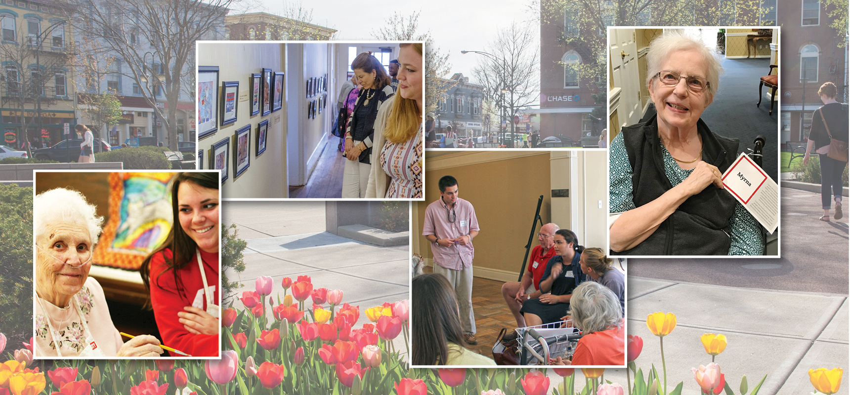 Images of the Oxford community. uptown oxford, a Miami student and an OMA artist, students giving a community presentation, families looking at a gallery at an OMA art show, and a nursing home resident showing off her PAL card