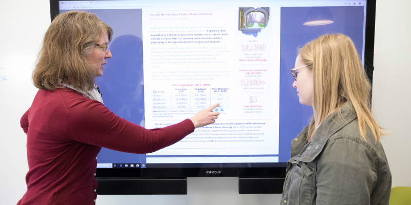 Researchers using the interactive display