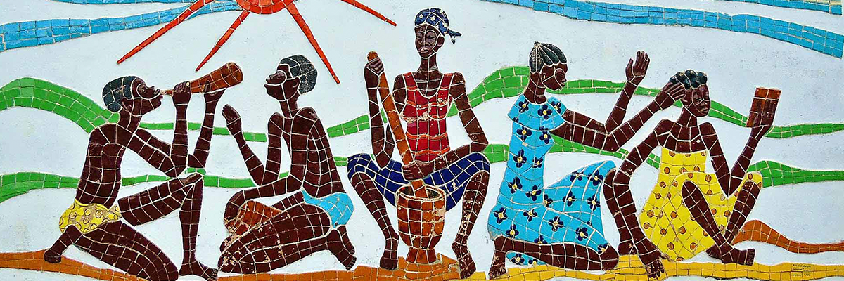 Mosaic of five Cameroon men
