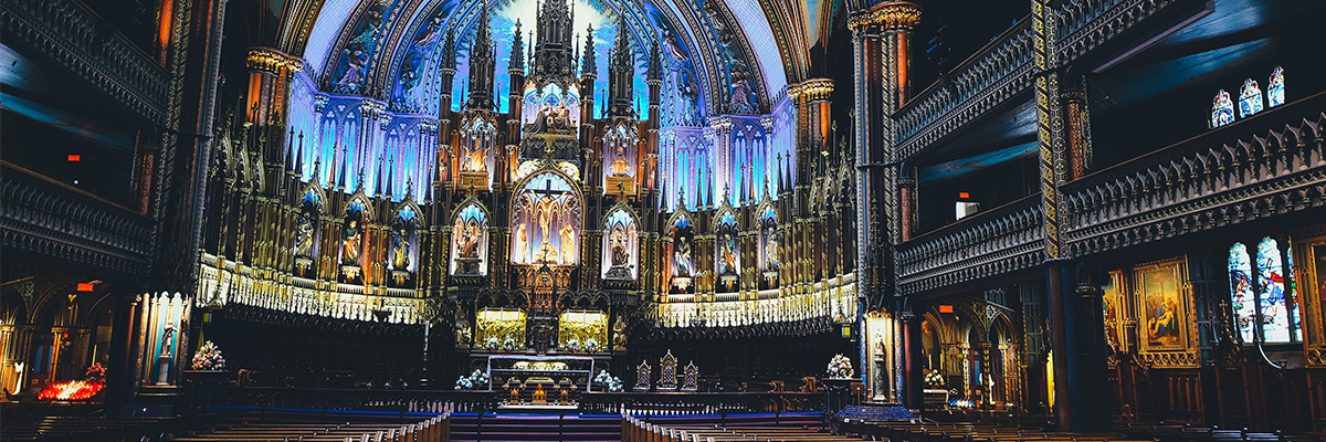 inside of Montreal's Notre Dame Cathedral