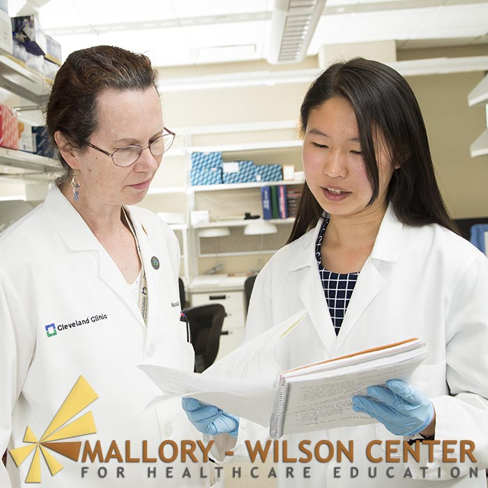Mallory-Wilson Center for Healthcare Education. Student intern Benita Tseng Lai with the Cleveland Clinic's Dr. Michaela Aldred