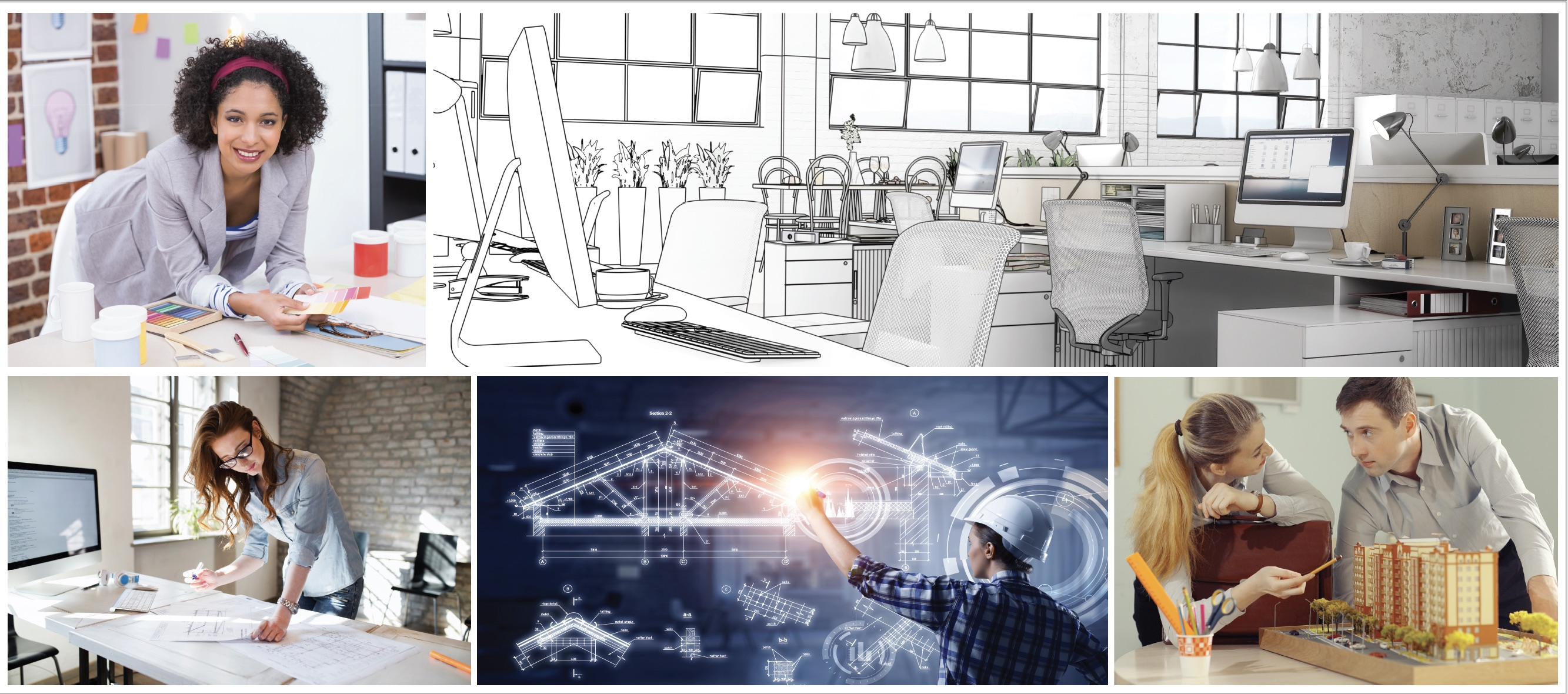 scenes of architects and interior designers at work and a rendering of an office