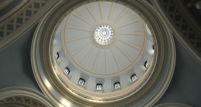 Interior view looking up into the dome