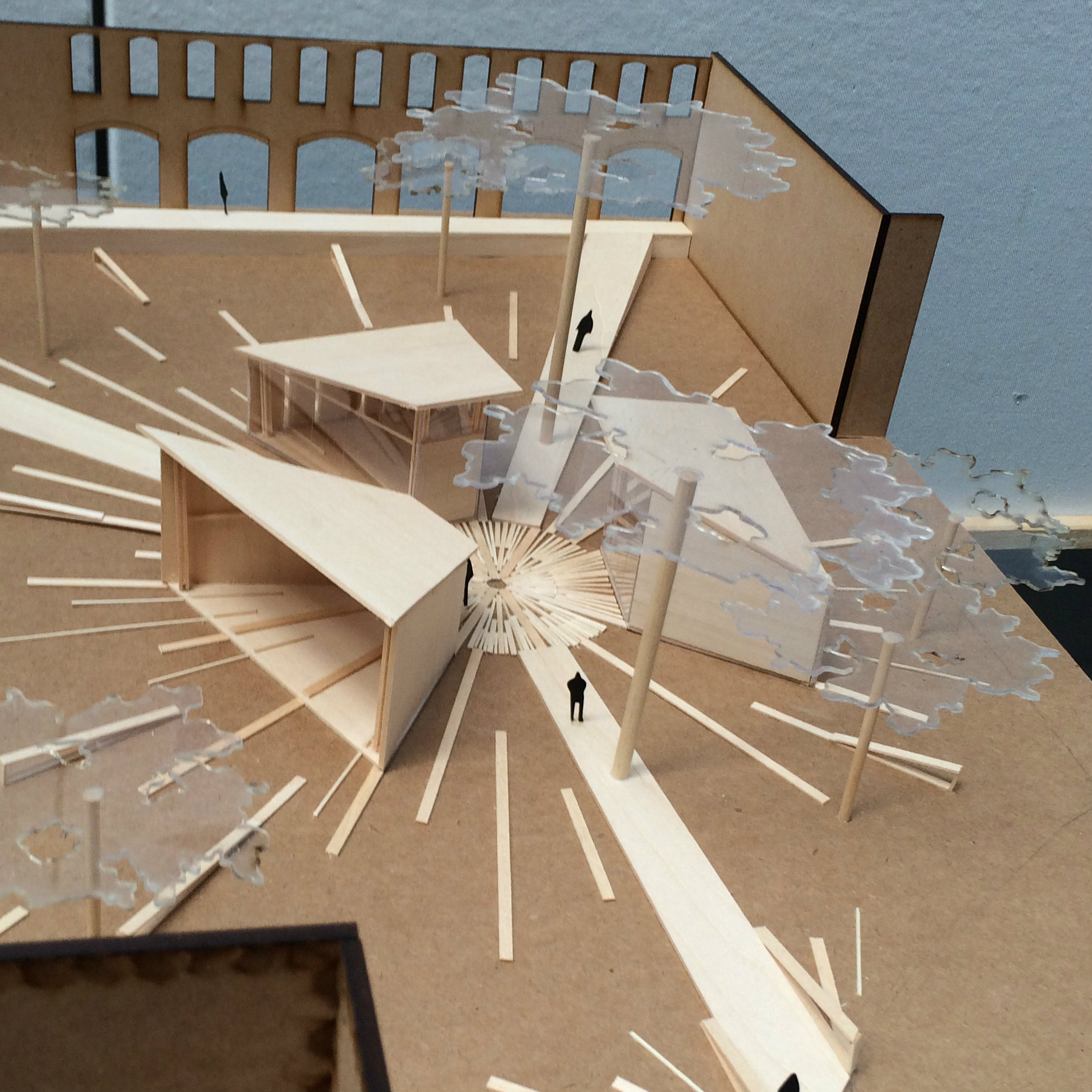 wooden model of a circular building