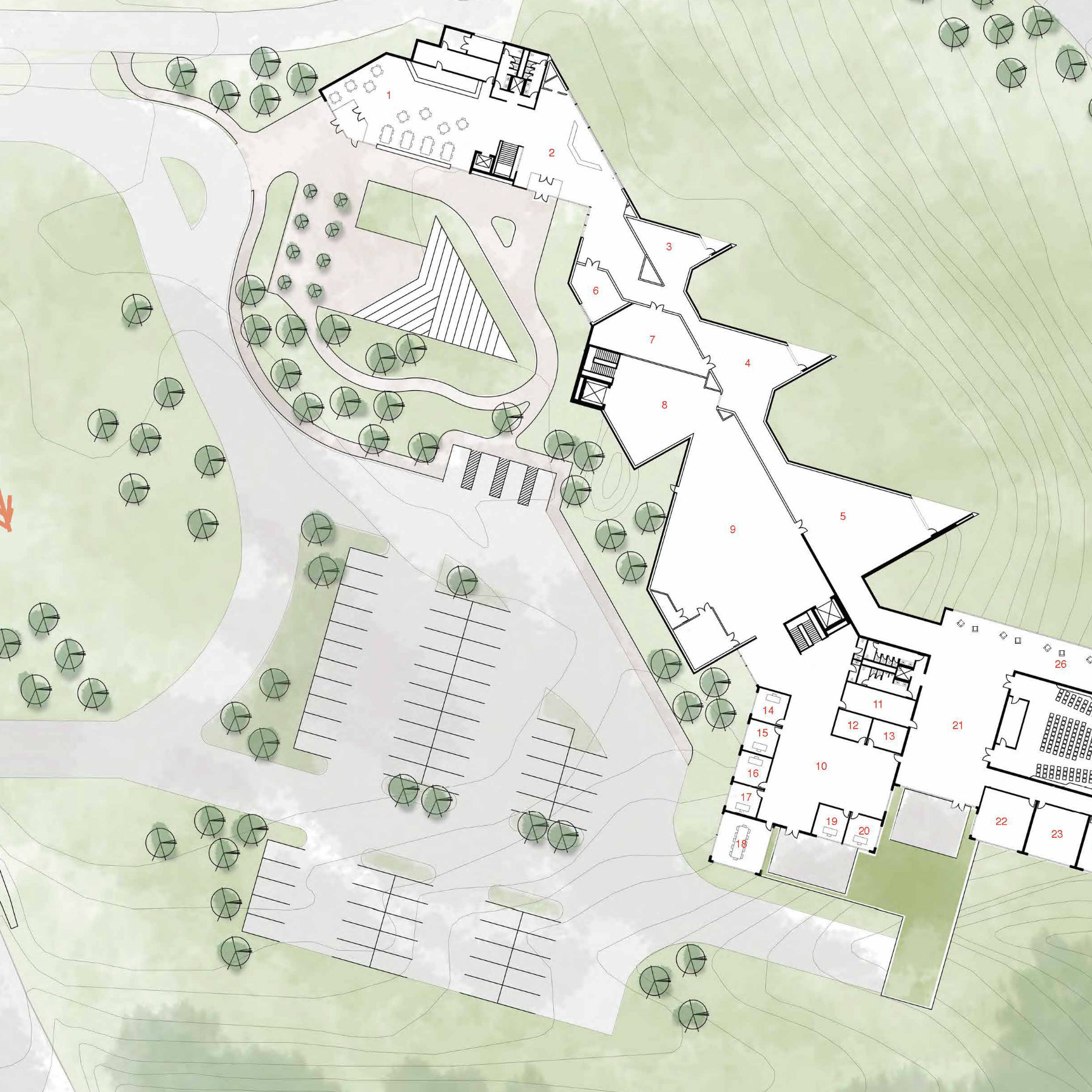 drawing of a site plan with building, green space and parking area