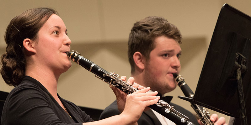 Clarinetists in the Wind Ensemble in concert performance