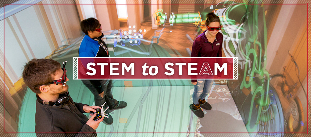 Students wear headsets and hold virtual reality controllers in a large colorful space. Text: STEM to STEAM