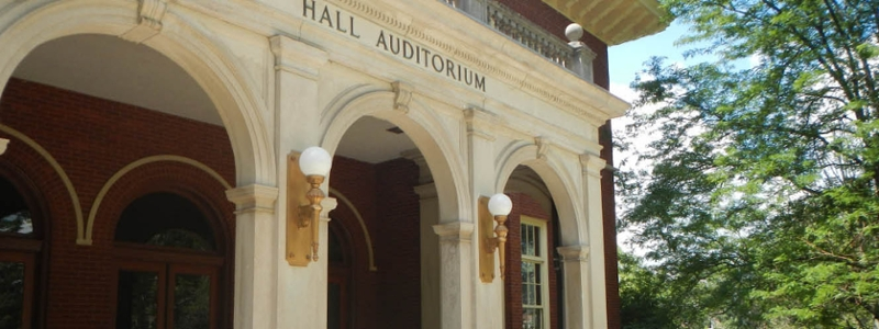Closeup of Hall Auditorium main entrance