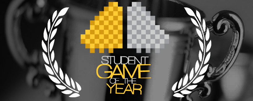 A blurred gray background. Laurels surround words 'Student Game of the Year', with a yellow and gray pixel design above