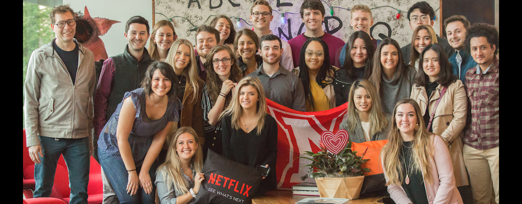 Large group of students pose at Netflix in San Francisco area
