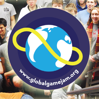 The Global Game Jam logo is superimposed over a group of past Miami participants