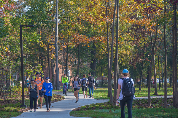 Students walking along a path in Bishop Woods