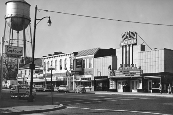 George Hoxie photo of uptown Oxford, mid 20th century
