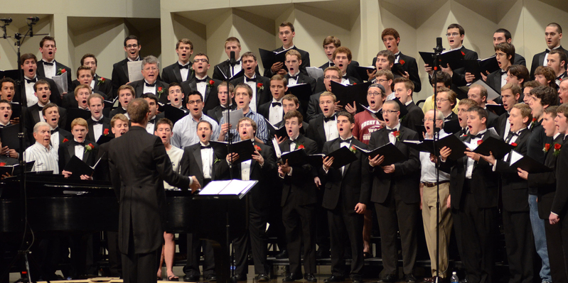 The Mens Glee Club sings in concert at Hall Auditorium