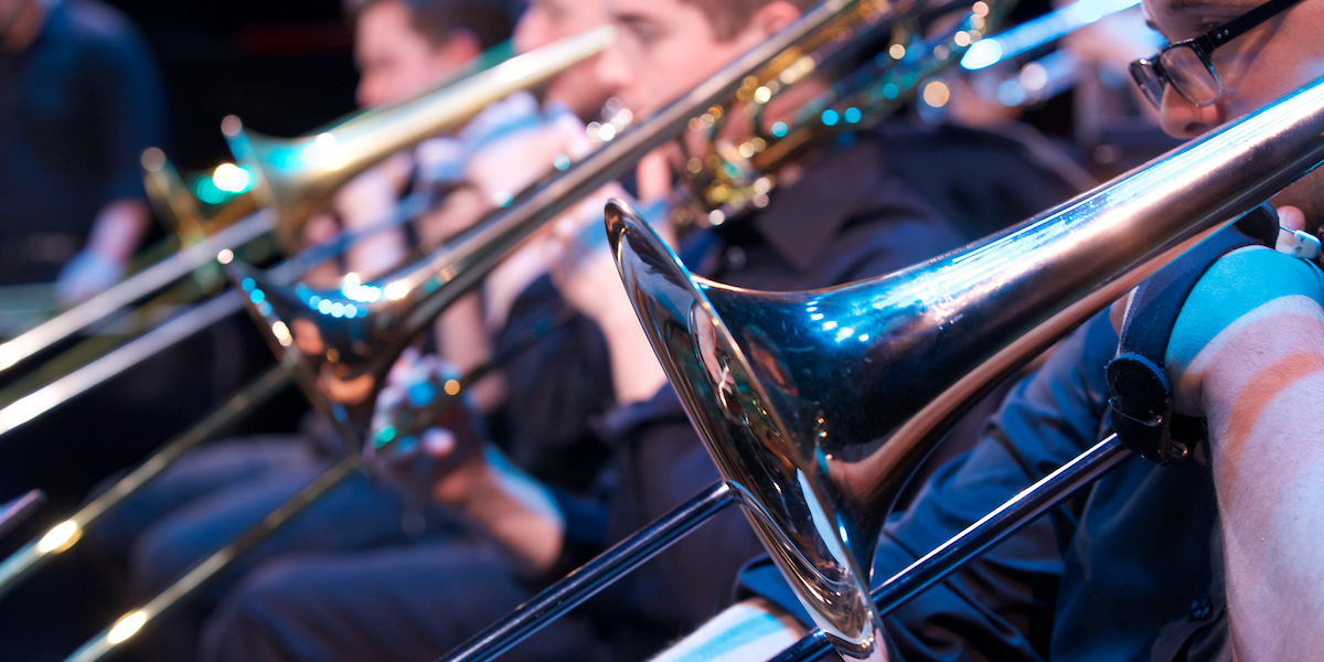 Closeup of the trombones during Jazz Ensemble concert
