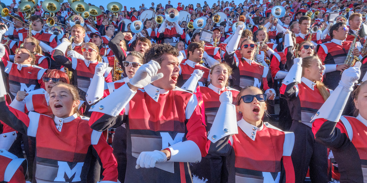The Miami Marching Band leads a cheer at the Notre Dame Football Game, fall 2017