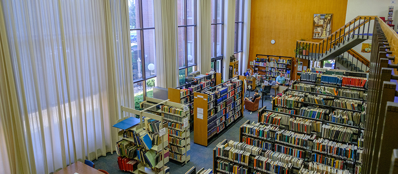 Interior view of Amos Music Library, taken from 2nd floor