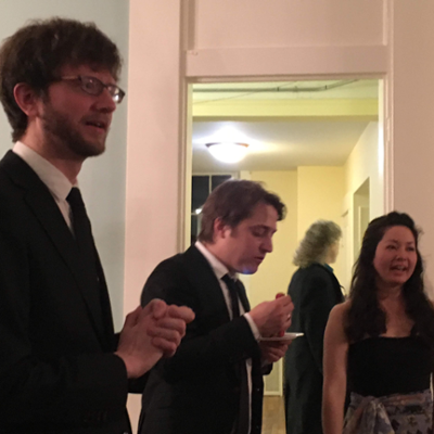 Quartet members mingle at the after-concert reception