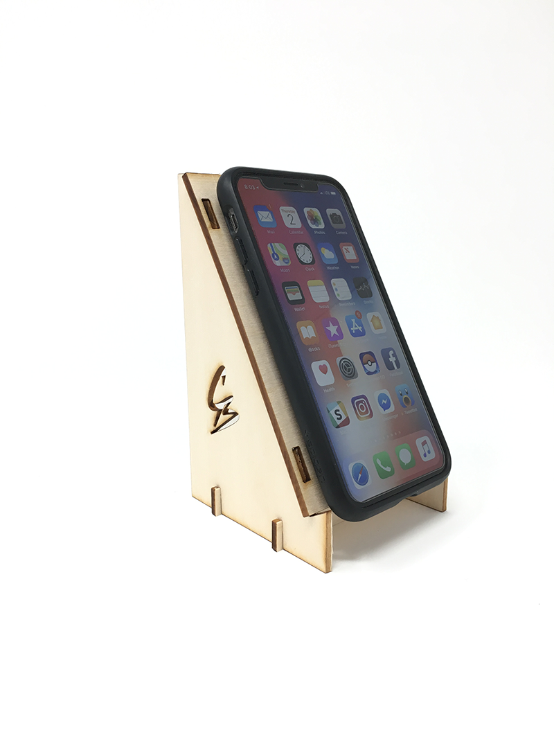 A laser cut smartphone holder
