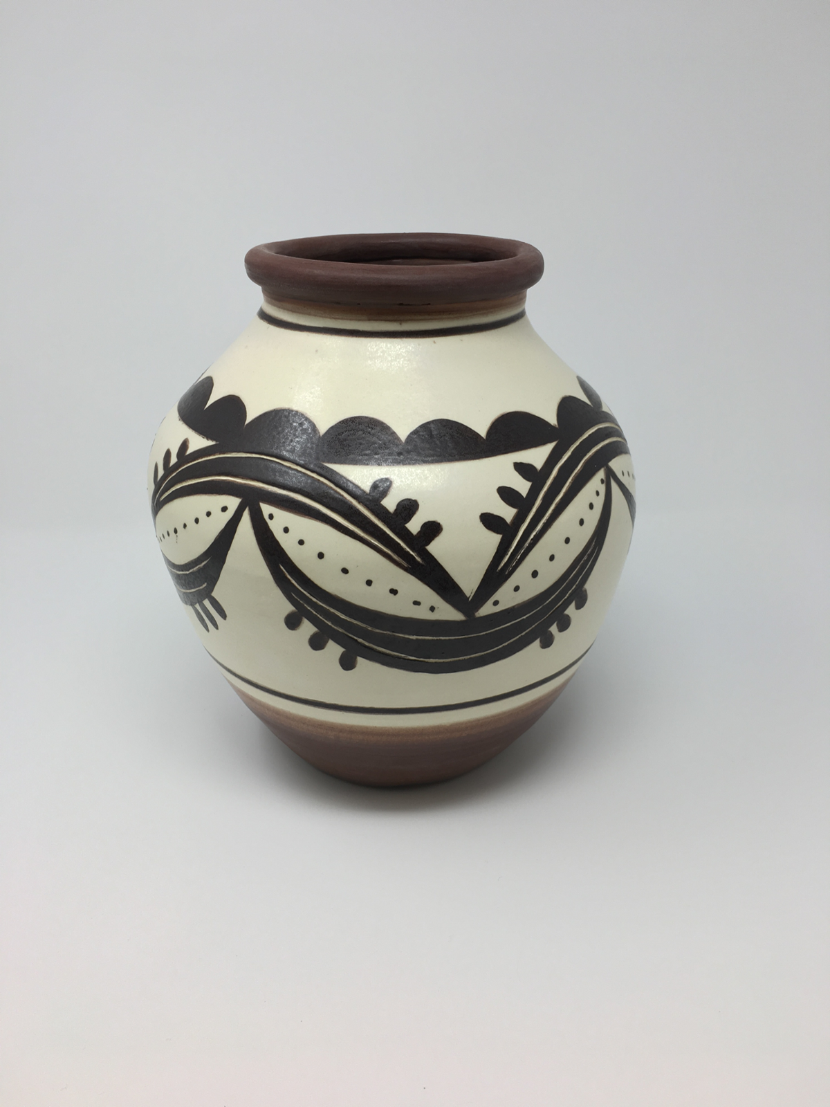Decorated pot in earthtones