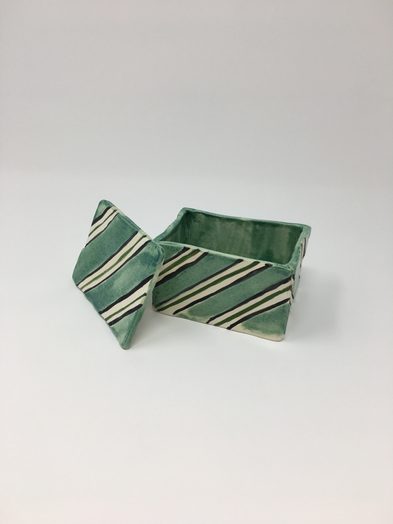 Striped green box, lid off