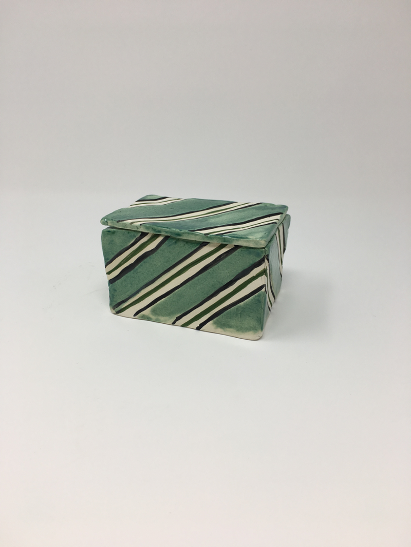 Striped green box, lid on