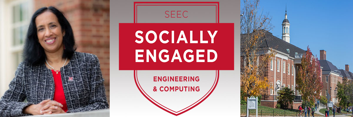 Composite picture: A photo of Dean Sukumaran, a banner that says SEEC Socially Engaged Engineering and Computing, and a photo of the outside of Benton Hall, Garland Hall, and the Engineering Building