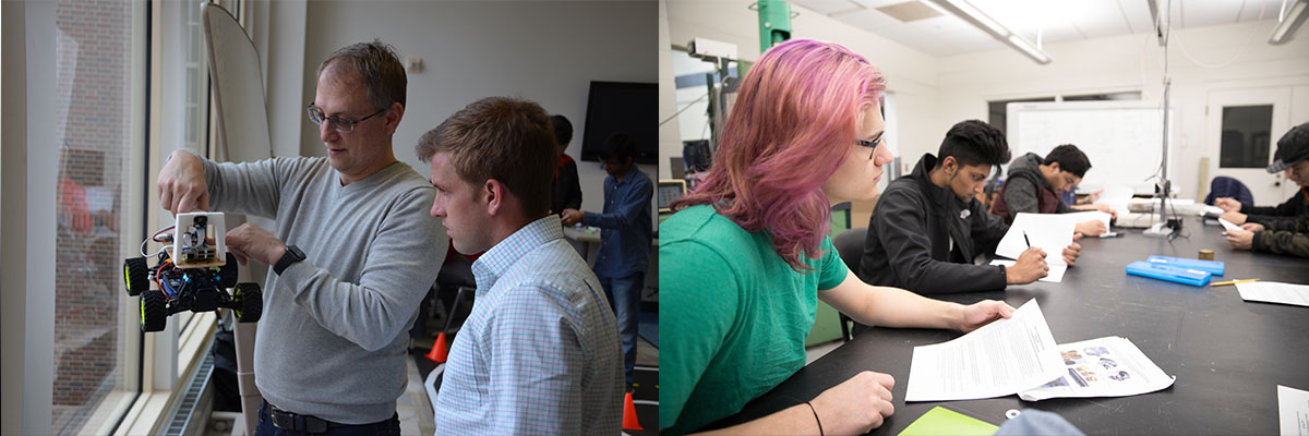 A composite containing a picture of a student working with a faculty member, a picture of a group consisting mostly of female students, and a picture of two students working together