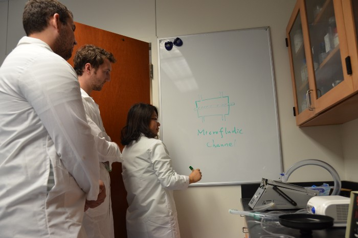 A professor and two students at a whiteboard