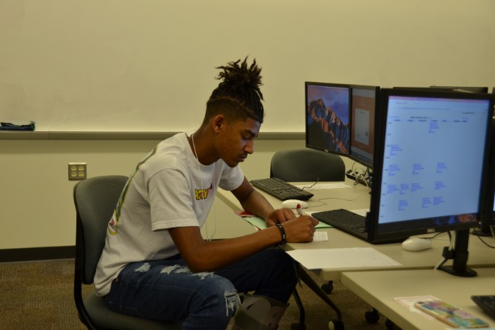 A student registering for classes