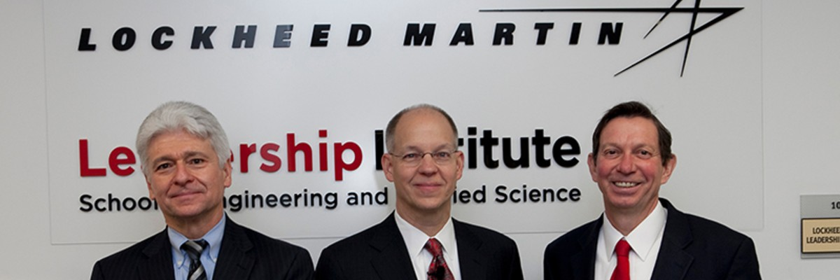 Dean of CEC Marek Dollár, Senior Vice President of Lockheed Martin Ray Johnson, and President Emeritus of Miami University David Hodge, at a Lockheed Martin function