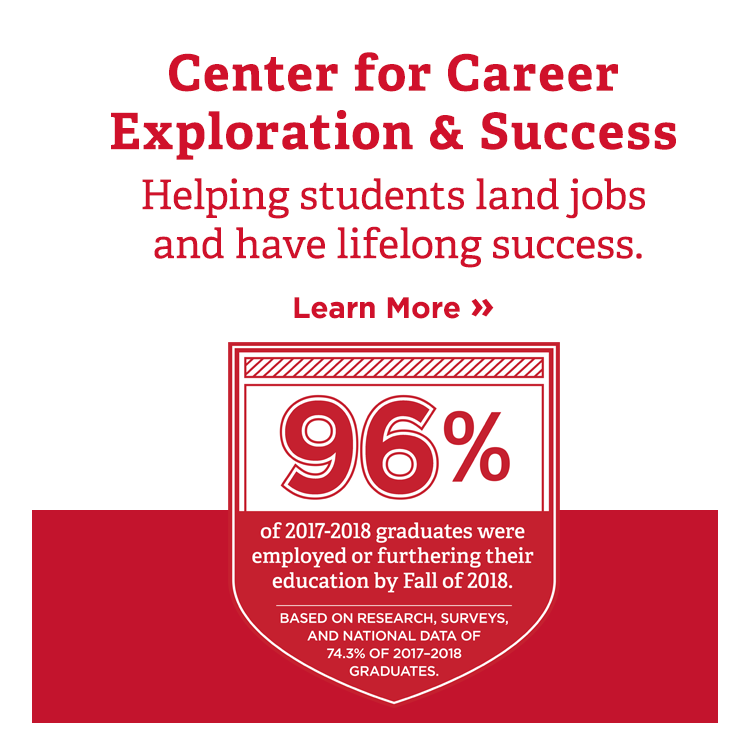 Center for career exploration and success. Helping students land jobs and have lifelong success. 96% of 2017-2018 graduates were employed or furthering their education by Fall of 2018 based on research, surveys, and national data. Learn more.