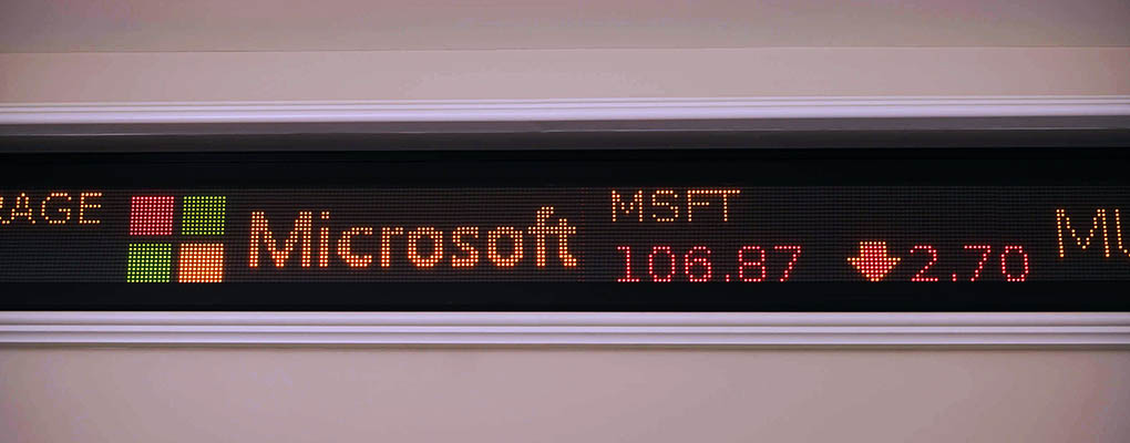 Stock ticker showing Microsoft price
