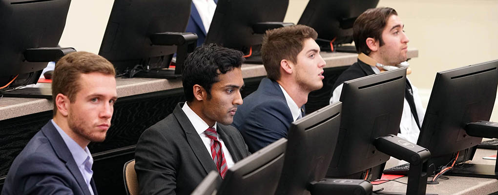 Students watch presentation in David Salem's class