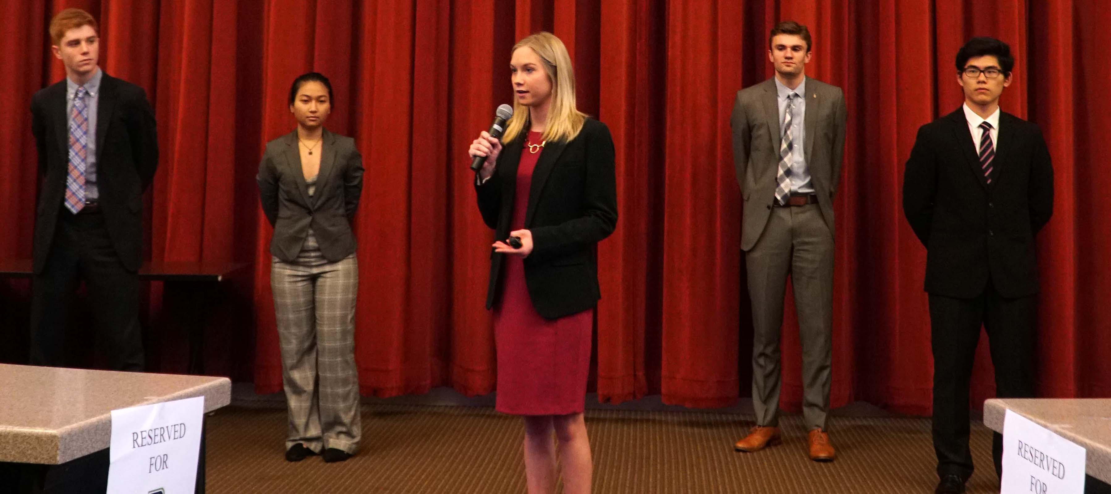 Students make a presentation to Fifth Third Bank executives