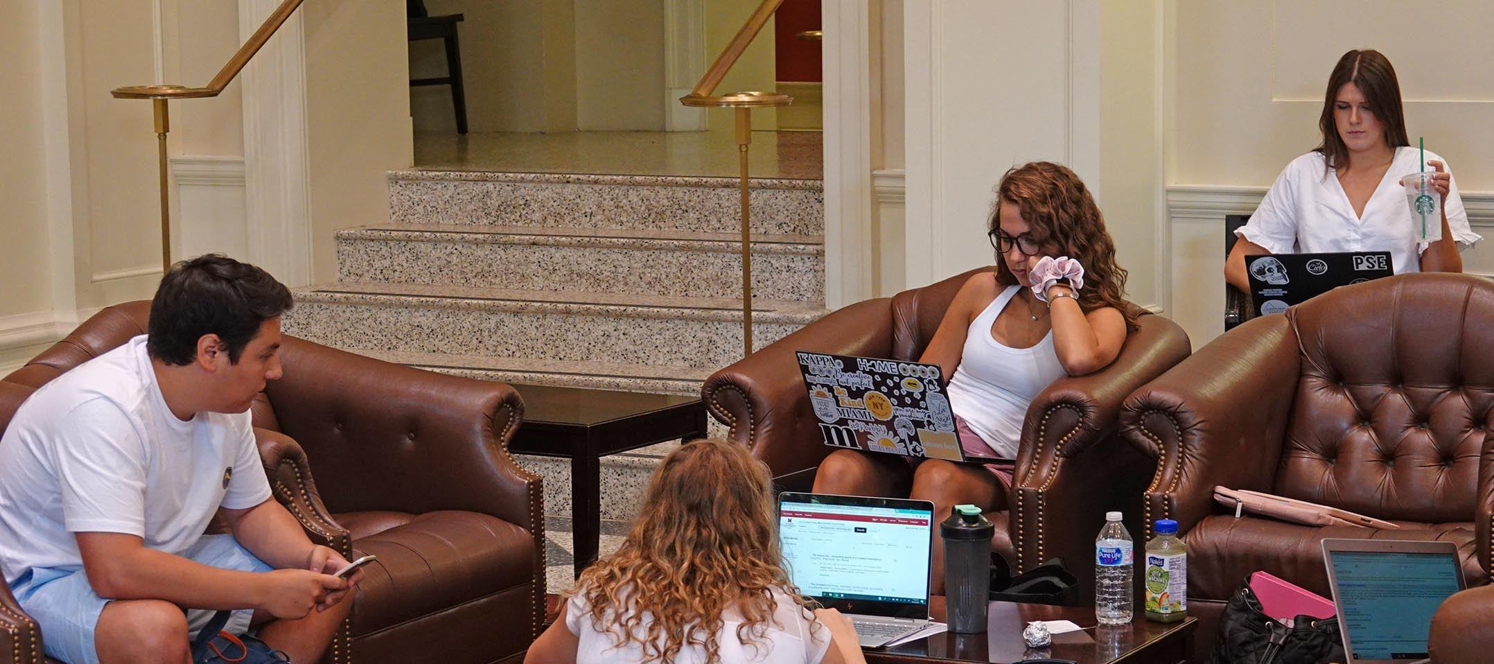 Students hang out in Forsythe Commons