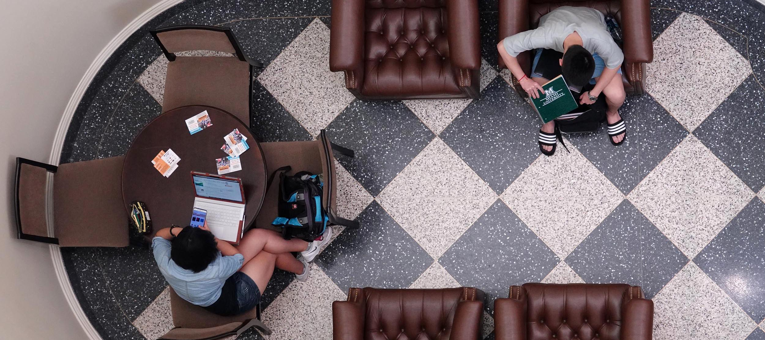 Looking down into the study nook at the bottom of the Taylor Auditorium stairs