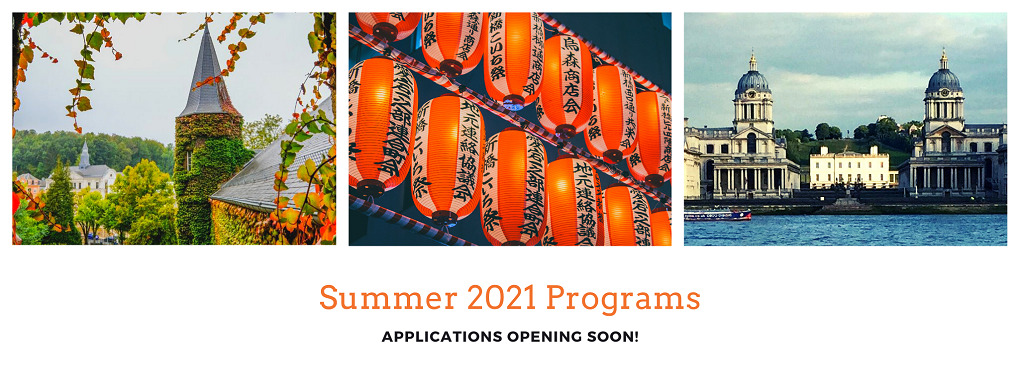 Three photos of Differdange castle, Chinese lanterns and the British Naval Academy with the text Summer 2021 applications opening soon!