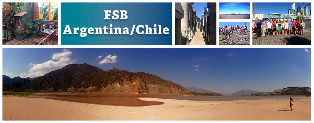 FSB Argentina. Photo collage: Argentina beach panorama, a house facade, an alleyway, a beach, a group photo on a stone wall, and a group photo in front of the city