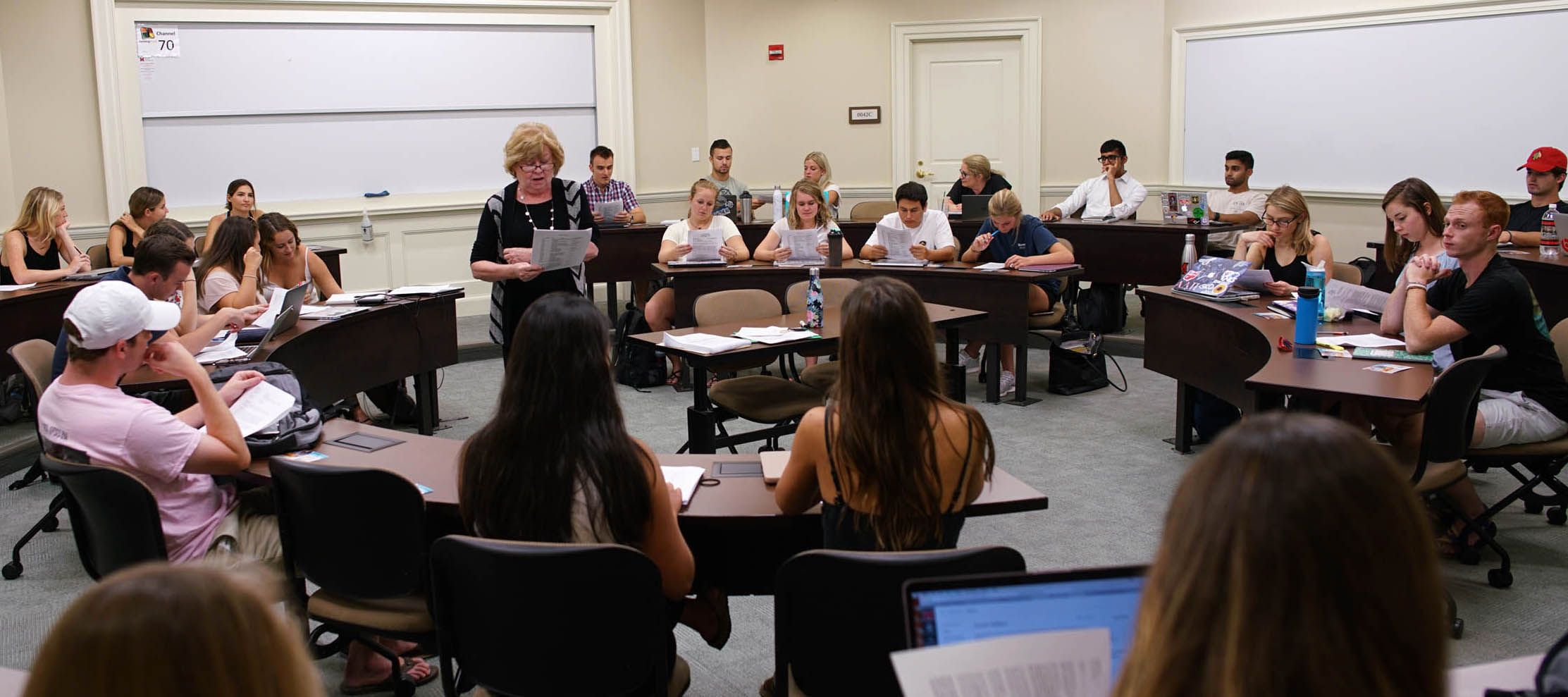 Jan Taylor instructs students about marketing
