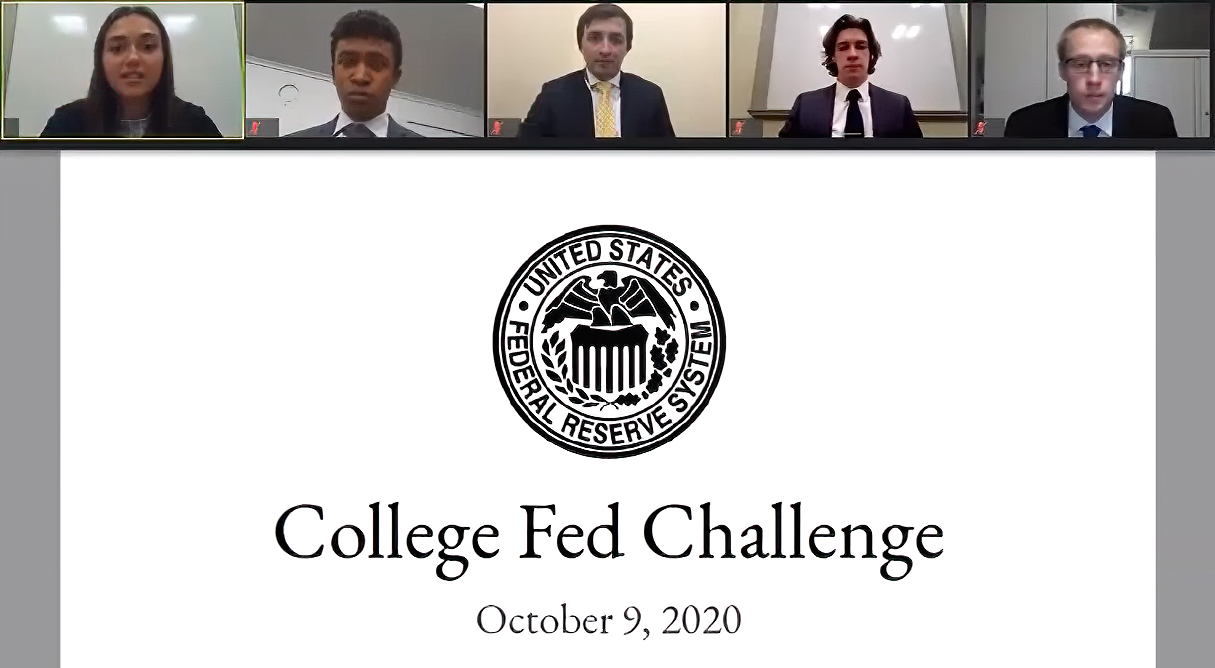 Fed Challenge team recording their presentation