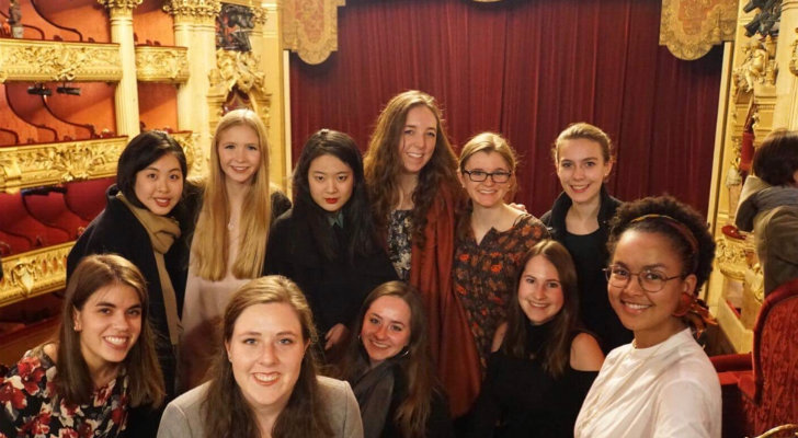 Caroline with several other students at the Palais Garnier for a ballet performance (Tchaikovsky's Onéguine)