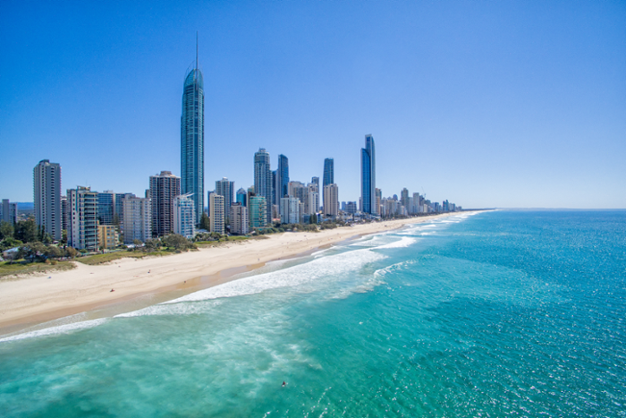 View of city buildings along the Gold Coast of Australia