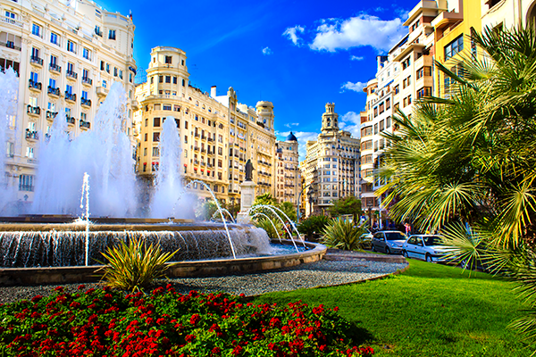 Main plaza in Valencia