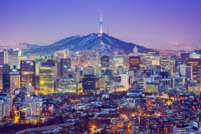 Colorful nighttime view of Seoul, South Korea