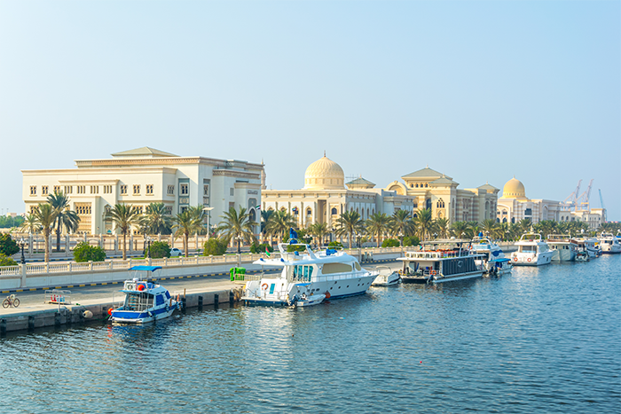 Waterfront and buildings in Sharjah, United Arab Emirates