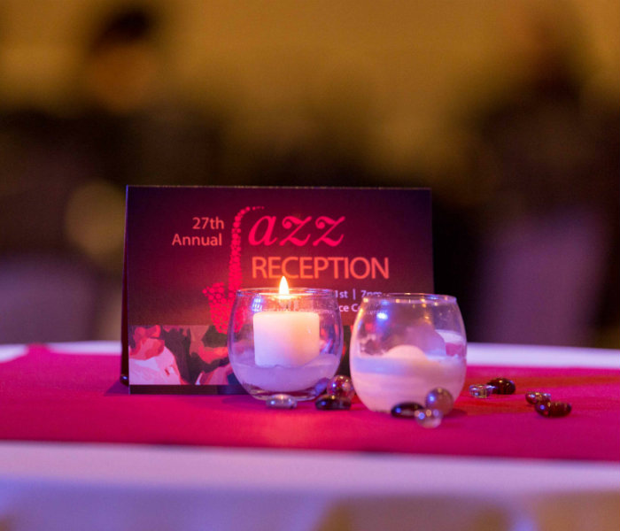 Jazz Reception Invitation sitting on a table