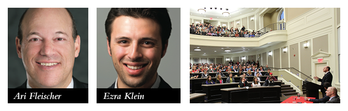 Ari Fleischer and Ezra Klein during their discussion with students in class