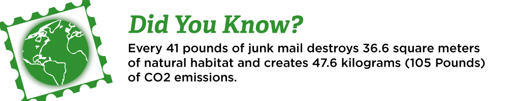Did you know? Every 41 pounds of junk mail destroys 36.6 square meters of natural habitat and creates 47.6 kg (105 pounds) of CO2 emissions